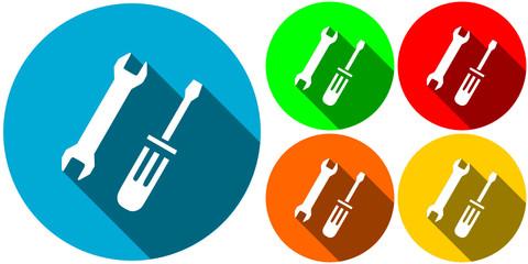 icone outil de dépannage flat design