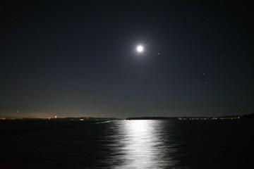 Night moonlight sky at the lake