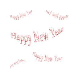 Happy new year written in red on white background