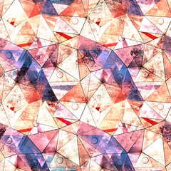 Seamless geometric polygon brown, blue pattern.