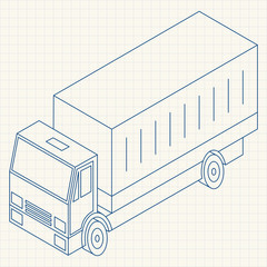 Single-line illustration Vehicle in isometric vector