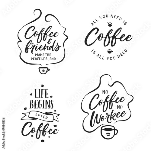 Hand drawn coffee related quotes set  Vector vintage