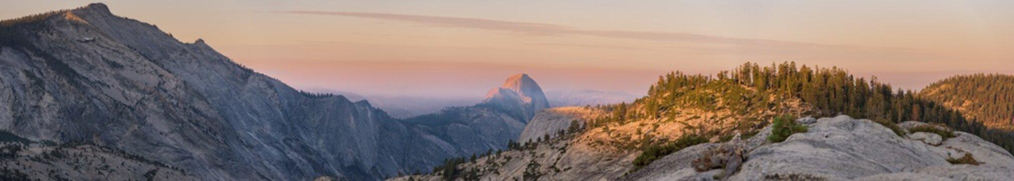 Sunrise above Half Dome in Yosemite National Park.