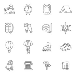 Travel and entertainment icon set vector illustration
