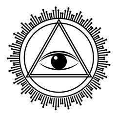 Eye of Providence sign. All seeing eye in triangle pyramid vector illustration.