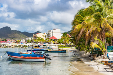 Philipsburg marina in Sint Maarten cruise ship vacation destination. Touristic harbour stop on cruise holiday itinerary, the town of Philipsburg on the dutch Antilles side of St Maarten Saint Martin.