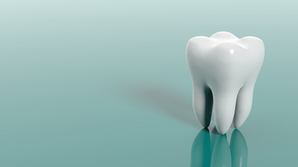 Tooth on green background. 3d illustration