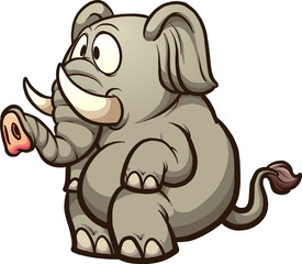 Fat cartoon elephant sitting. Vector clip art illustration with simple gradients. All in a single layer.