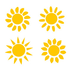Four Different Yellow Sun Icons on White Background Vector Illustration