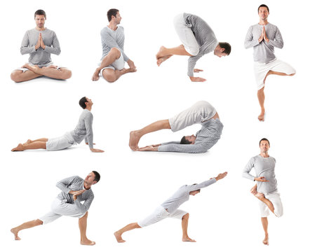 Collage of young man practicing yoga on white background