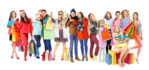 Happy people with shopping bags on white background
