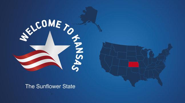 Welcome to Kansas USA map banner logo icon
