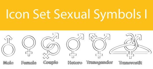 Drawn Doodle Lined Icon Set Sexual Symbols I