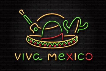 Vector realistic isolated neon sign of sombrero for Happy Independence Day in Mexico for decoration on the wall background. Concept of Viva Mexico.