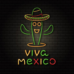 Vector realistic isolated neon sign of cactus and sombrero for Happy Independence Day in Mexico for decoration on the wall background. Concept of Viva Mexico.