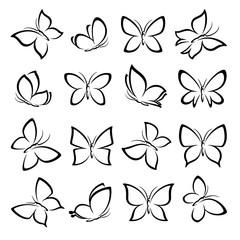 Butterflies set. Vector