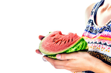 Slice of watermelon in woman hands on white background ready for eating