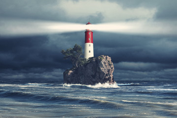 Foto op Canvas Vuurtoren Leuchtturm beim stürmischen Wetter