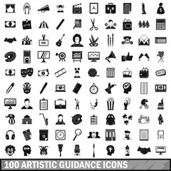100 artistic guidance icons set, simple style