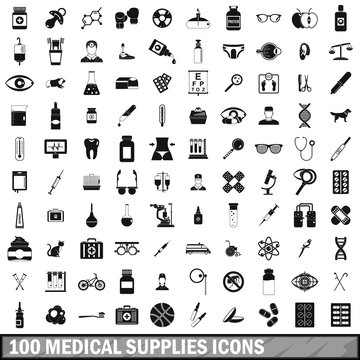 100 medical supplies icons set, simple style