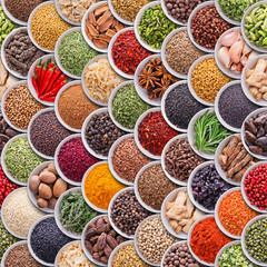 Fototapete - Seamless texture with spices and herbs