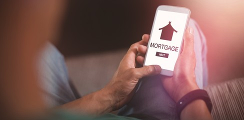 Composite image of graphic image of mortgage text with icon