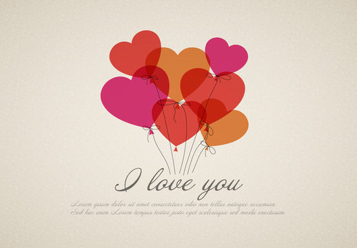 Heart Balloons Valentine's Day Graphic Layout