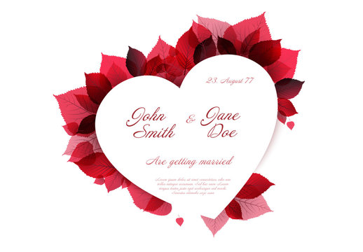 Red Leaves and Heart Invitation Layout