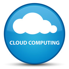 Cloud computing special cyan blue round button