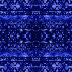 Blue Tie Dye Seamless Pattern