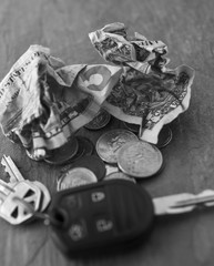Pocket changes and car keys