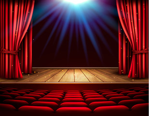 Festival night show poster. A theater stage with a red curtain and a spotlight. Vector.