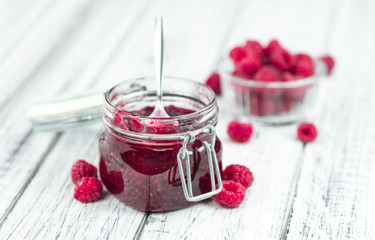 Portion of Raspberry Jam, selective focus