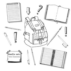 Hand drawn doodle set of school teen elements. Back to school. Writing supplies,copybook, notebook, sticky notes, backpack in cartoon style. stationary. Design for print. Pattern. Vector illustration.