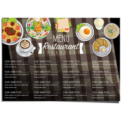 menu breakfast food restaurant template design hand drawing graphic