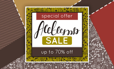 Autumn sale. Discount in fall. Floral pattern. Hand drawn creative flowers. Creative abstract background. Collage. Lettering. Flyer, advertising, banner, signboard. Vector illustration, eps10
