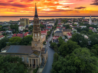 Charleston from the air - church steeple Wall mural