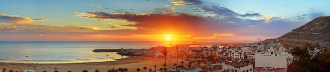 Beach in Agadir city at sunset, Morocco