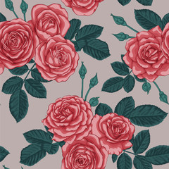 beautiful vintage seamless pattern with bouquets of roses and leaves design greeting card and invitation of the wedding, birthday, Valentine's Day, mother's day and other holiday,