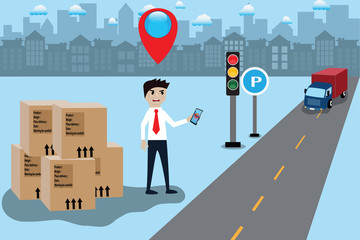 Intelligence application concept,Man call a truck for delivery from mobile app. - vector