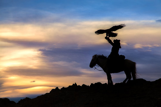 Silhouette of an Eagle Hunter, Mongolia