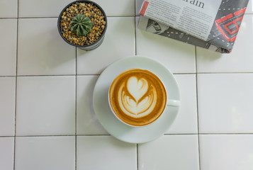 Relax time with coffee and newspaper