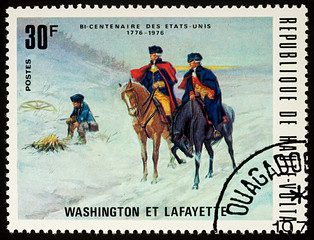 George Washington and general Lafayette on postage stamp