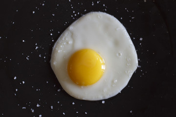 Fried egg on a dark background