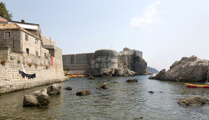 Panoramic image Fortress walls of the city of Dubrovnik, Croatia.