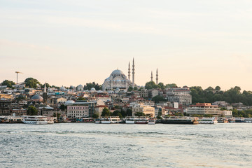 A beautiful view of the Blue Mosque is also called Sultanahmet in the European part of Istanbul. View from the Bosphorus. Turkey.