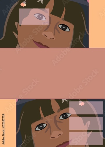book cover with girl face vector template stock image and royalty