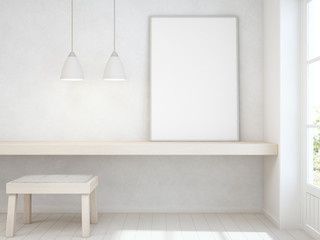 White empty frame mock up on wooden table with concrete wall background, Chair and desk near door in bright room of modern scandinavian house - Home office 3d rendering