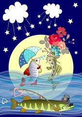 Lovely vector card with cute cartoon fish in love and cunning pike with hat, sunglasses and fishing rod against the full moon.
