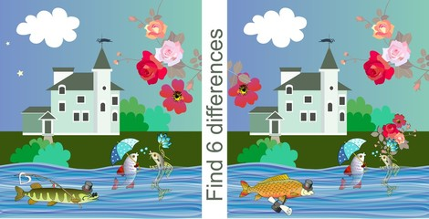 Find differences. Educational game for children. Vector illustration. Cute cartoon fishes, bright flowers and beautiful house.